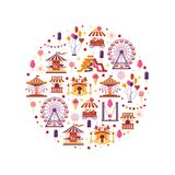 Amusement park flat elements in circle with carousels, waterslides, balloons, flags, inflatable trampoline castle. Ferris wheel, mobile kiosk with sweets royalty free illustration