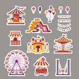 Amusement park flat elements sticker with carousels, waterslides, balloons, flags, inflatable trampoline castle, ferris. Wheel, mobile kiosk with sweets vector illustration