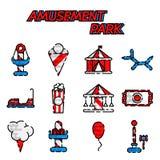 Amusement park flat icon set Royalty Free Stock Image