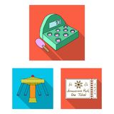 Amusement park flat icons in set collection for design. Equipment and attractions vector symbol stock web illustration. Amusement park flat icons in set vector illustration