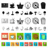 Amusement park flat icons in set collection for design. Equipment and attractions vector symbol stock web illustration. Amusement park flat icons in set stock illustration