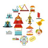 Amusement park flat icons set. Isolated on white background royalty free illustration