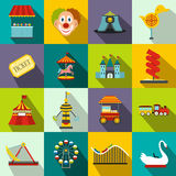 Amusement park flat icons set Stock Photo
