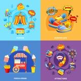 Amusement park 4 flat icons square Stock Images