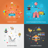 Amusement Park 4 Flat Icons Square Stock Images