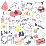 Amusement Park Freehand Hand Drawn Doodle with Clown, Attractions and Carousel Stock Photo