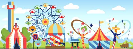 Amusement park. Fun park vector theme, kids carnival entertainments daytime, children amusing attractions cartoon. Illustration royalty free illustration