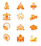 Attraction icons | JUICY series. Amusement park or funfair attraction red-orange icon-set Stock Photo