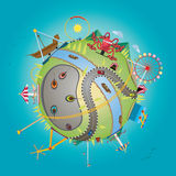 Amusement park with globe. Vector illustration of amusement park with globe concept Stock Photography