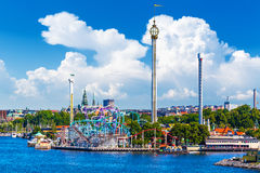 Amusement park Grona Lund on Djurgarden island in Stockholm, Swe Stock Photos