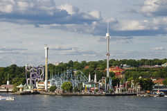 Amusement park (Grona lund) in Stockholm, Sweden Stock Photos