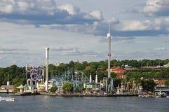 Amusement park (Grona lund) in Stockholm, Sweden stock photos