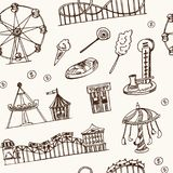 Amusement park hand drawn doodle seamless pattern. Sketches. Vector illustration for design and packages product. Symbol. Collection Royalty Free Stock Images