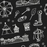 Amusement park hand drawn doodle seamless pattern. Sketches. Vector illustration for design and packages product. Symbol. Collection Royalty Free Stock Photo