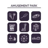 Amusement park hand drawn doodle set. Sketches. Vector illustration for design and packages product. Symbol collection.  Royalty Free Stock Photos