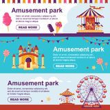 Amusement park horizontal banner with carousel, flags, inflatable trampoline castle, ferris wheel. Set family royalty free illustration