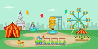 Amusement park horizontal banner, cartoon style Royalty Free Stock Image