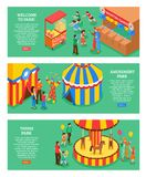 Amusement Park Horizontal Banners. With popcorn cart circus tent carousel shooting range  isometric icons 3d vector illustration Royalty Free Stock Photo