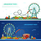Amusement Park Horizontal Banners. Amusement park horizontal flat banners with kids train ferris wheel roller coaster icons compositions vector illustration Stock Image