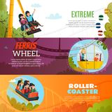 Amusement Park Horizontal Banners. People in amusement park horizontal banners with ferris wheel roller coaster and extreme attraction flat compositions vector Stock Photography
