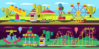 Amusement Park Horizontal Banners Stock Image