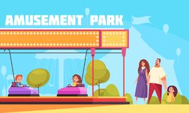 Amusement Park Horizontal Illustration. Amusement park horizontal vector illustration with mother father and kids cartoon characters coming for family vacation stock illustration