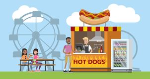 Amusement park with a hot dog booth. Children and their parents have fun in the park and eat snack. Urban summer landscape. Flat vector illustration stock illustration