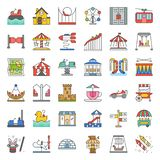 Amusement park icon and coin operated ride, filled outline icons. Set royalty free illustration