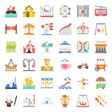 Amusement park icon and coin operated ride, flat design icons se. T vector illustration