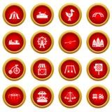 Amusement park icon red circle set Royalty Free Stock Photos