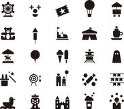 Amusement park icon set Stock Photography