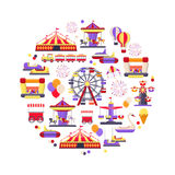 Amusement park icon set in circle shape. Concept design with a Ferris wheel, roller coaster, carousel,  circus and Etc. Vector illustration Royalty Free Stock Photo
