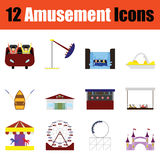 Amusement park icon set. Flat design amusement park icon set in ui colors. Vector illustration Royalty Free Stock Image