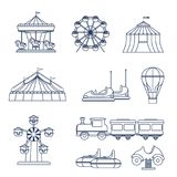 Amusement park icon set  in line art style. Amusement park icon set in circle shape.  Vector illustration with a ferris wheel, tourist train, carousel, circus Royalty Free Stock Photo