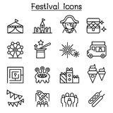 Amusement park icon set in thin line style. Vector illustration graphic design royalty free illustration
