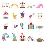 Amusement park icons. Illustration of isolated amusement park icons Royalty Free Stock Images