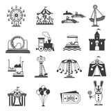 Amusement Park Icons. Black set with ferries wheel and rollercoaster symbols  vector illustration Royalty Free Stock Photo