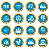 Amusement park icons blue circle set Stock Photos