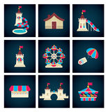 Amusement park icons Stock Images