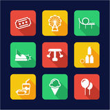 Amusement Park Icons Flat Design Royalty Free Stock Photos