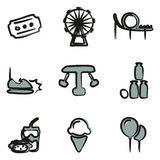 Amusement Park Icons Freehand 2 Color Stock Image