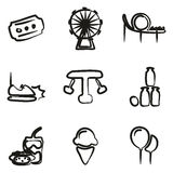 Amusement Park Icons Freehand Royalty Free Stock Images