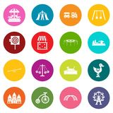 Amusement park icons many colors set Royalty Free Stock Images