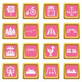 Amusement park icons pink Stock Images