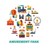 Amusement park icons round concept. Amusement park, and carnival carousel, vector illustration royalty free illustration