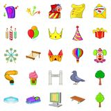 Amusement park icons set, cartoon style. Amusement park icons set. Cartoon set of 25 amusement park icons for web isolated on white background Royalty Free Stock Photography