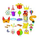 Amusement park icons set, cartoon style stock illustration