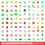 100 amusement park icons set, cartoon style. 100 amusement park icons set in cartoon style for any design vector illustration Stock Photo