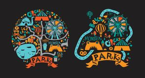 Amusement Park icons set in cartoon style with attractions and walking paths, pond, ice cream, coffee royalty free illustration