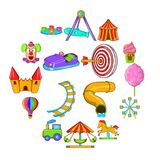 Amusement Park icons set, cartoon style. Amusement Park icons set in cartoon style isolated on white background Stock Photos